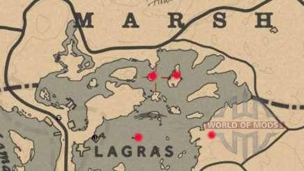 Карта сокровищ болота Blackwater в Red Dead Online