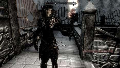Черно-золотая эльфийская броня для Skyrim