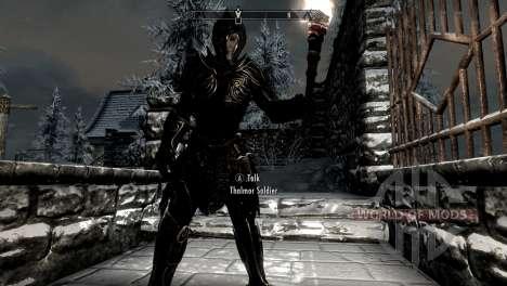 Черно-золотая эльфийская броня для Skyrim второй скриншот