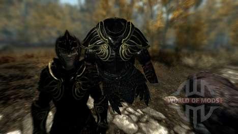 Черно-золотая эльфийская броня для Skyrim пятый скриншот