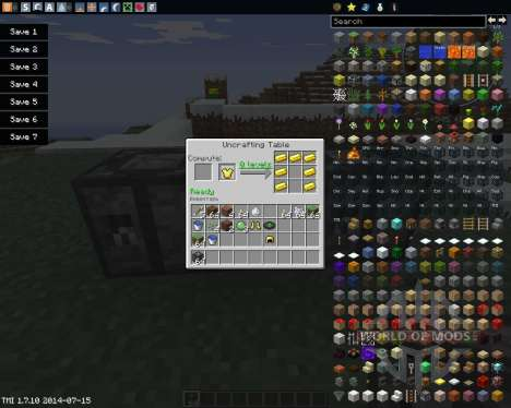 Uncrafting Table для Minecraft