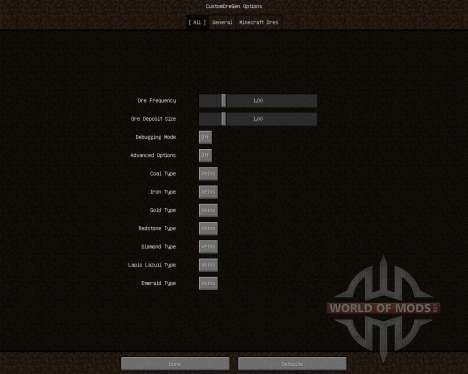 Custom Ore Generation Revival [1.6.4] для Minecraft