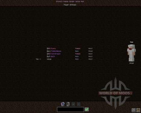 Female Gender Option [1.7.2] для Minecraft