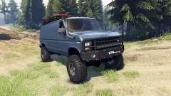Ford E-350 Econoline 1990 v1.1 blue-gray для Spin Tires