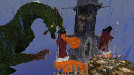 A dragon attack an old tower для Minecraft