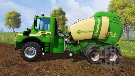 Mercedes-Benz Unimog [Krone round baler] для Farming Simulator 2015
