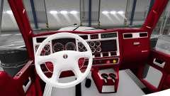 Красно-белый интерьер Kenworth W900 для American Truck Simulator