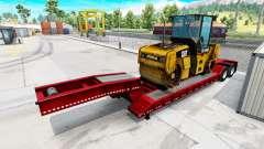 Полуприцепы с техникой известных брендов для American Truck Simulator