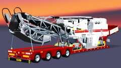 Низкорамный трал с грузом дорожной фрезы для Euro Truck Simulator 2