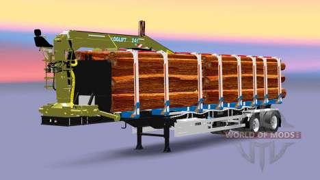 Полуприцеп-лесовоз Huttner с грузом для Euro Truck Simulator 2