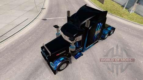Скин Monster Energy Blue на тягач Peterbilt 389 для American Truck Simulator