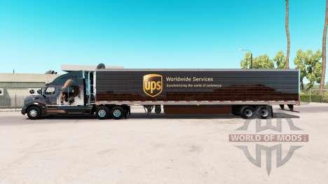 Скин UPS на удлинённый полуприцеп для American Truck Simulator