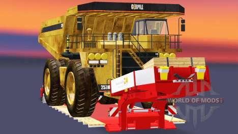 Низкорамный трал с самосвалом Caterpillar для Euro Truck Simulator 2