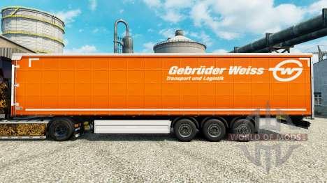 Скин Gebruder Weiss на полуприцепы для Euro Truck Simulator 2