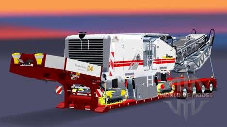 Низкорамный трал с грузом дорожной фрезы v3.0 для Euro Truck Simulator 2