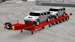 Низкорамный трал с автомобилями Hummer для American Truck Simulator