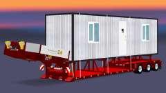 Низкорамный трал с грузом бытовки для Euro Truck Simulator 2