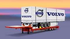 Низкорамный трал с грузом шторного полуприцепа для Euro Truck Simulator 2