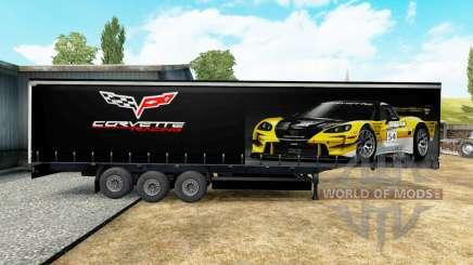 Скин Corvette Racing на полуприцеп для Euro Truck Simulator 2