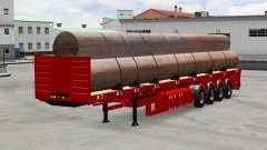 Полуприцеп-площадка с трубами для American Truck Simulator