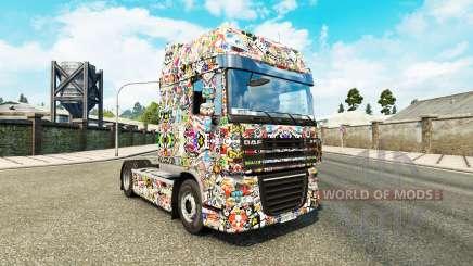 Скин Sticker Bombing DeLuxe на тягач DAF для Euro Truck Simulator 2