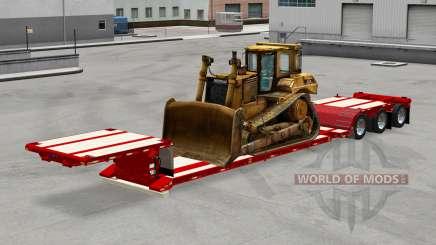 Низкорамный трал с различной техникой для American Truck Simulator
