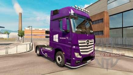 Скин Windows 10 на тягач Mercedes-Benz для Euro Truck Simulator 2