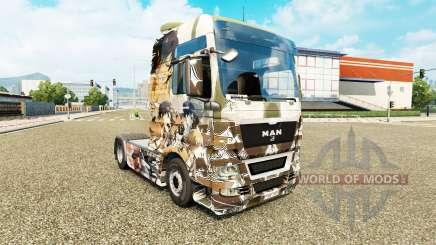 Скин Attack on Titans на тягач MAN для Euro Truck Simulator 2