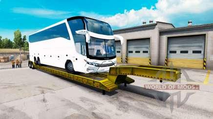 Низкорамный трал с грузом автобуса для American Truck Simulator