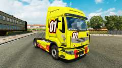 Скин Racing Yellow на тягач Renault Premium для Euro Truck Simulator 2