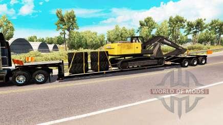 Низкорамный трал с грузом экскаватора для American Truck Simulator