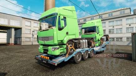 Полуприцеп-автовоз с грузами тягачей для Euro Truck Simulator 2