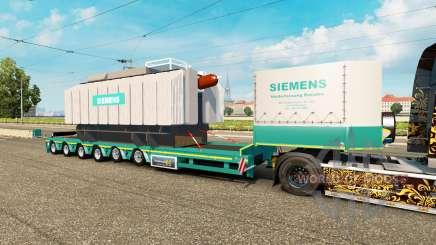 Низкорамный трал с грузом трансформатора Siemens для Euro Truck Simulator 2