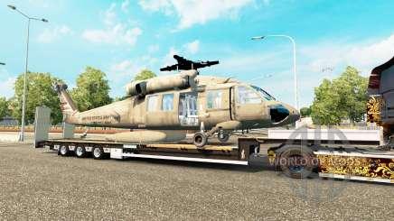 Низкорамный трал с грузом вертолёта для Euro Truck Simulator 2