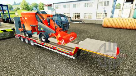 Низкорамный трал с грузами сельхозтехники для Euro Truck Simulator 2