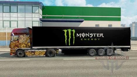 Скин Monster Energy на полуприцеп для Euro Truck Simulator 2