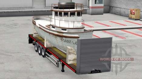 Полуприцеп-платформа с грузами для American Truck Simulator