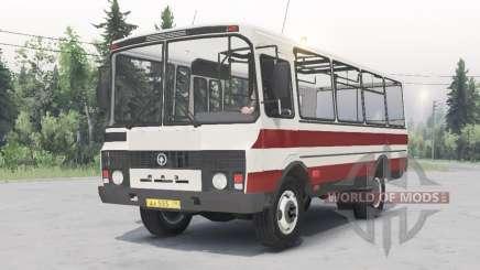 ПАЗ-3205 v1.2 бело-красный окрас для Spin Tires