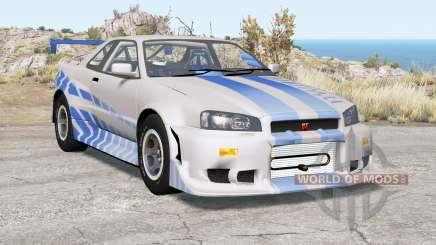 Nissan Skyline GT-R (R34) 2 Fast 2 Furious для BeamNG Drive