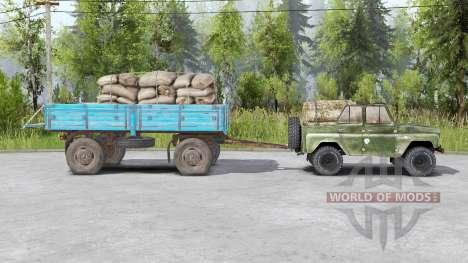 УАЗ 469〡буксирует прицепы для Spin Tires